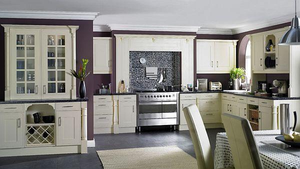 Применение фиолетового оттенка на кухне