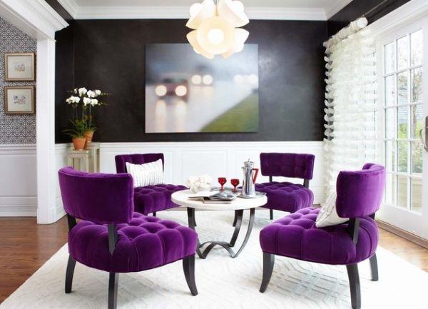 Яркое фиолетовое оформление интерьера