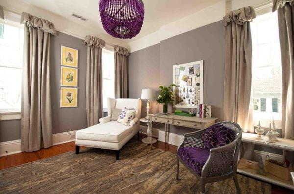 Красивое оформление интерьера с фиолетовыми акцентами