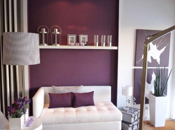 Прекрасное фиолетовое оформление интерьера