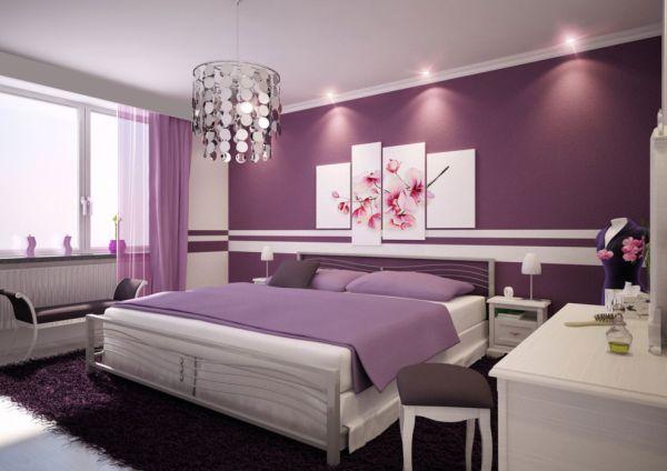 Прекрасное оформление интерьера с фиолетовыми акцентами