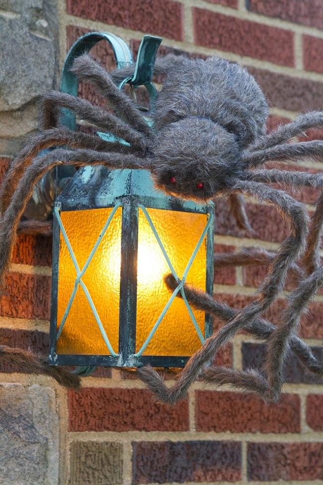 Паук на светильнике к Хэллоуину