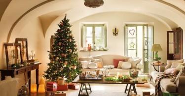 Рождественский декор гостиной
