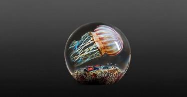 Медузы в стеклянных капсулах-вазах от Ричарда Сатава выглядят очень реалистично