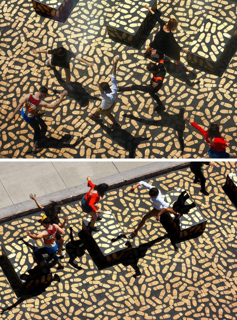 Рисунки на асфальте: как будто танцуют