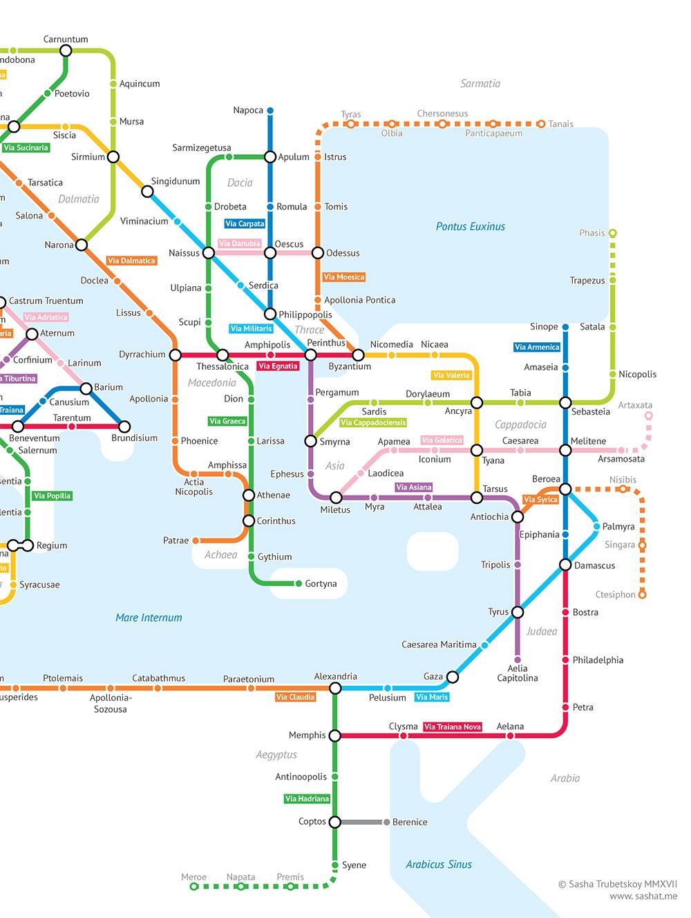 Гипотетическая карта метро Римской империи от Александра Трубецкого