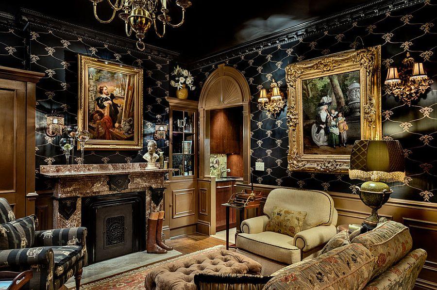 Викторианский стиль в интерьере тёмных тонов