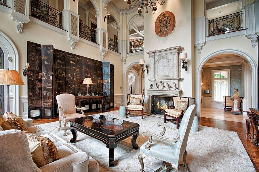 Викторианский стиль в интерьере двухэтажной гостиной