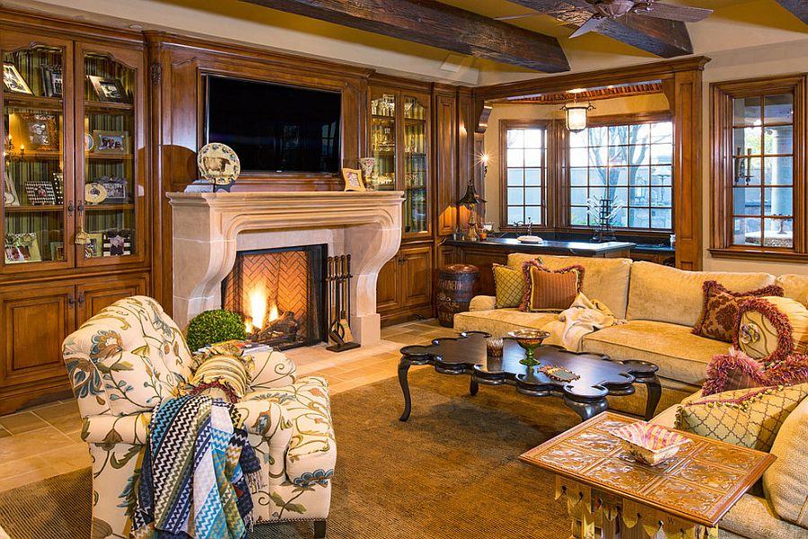 Викторианский стиль в интерьере: деревянные балки и золотистые цвета