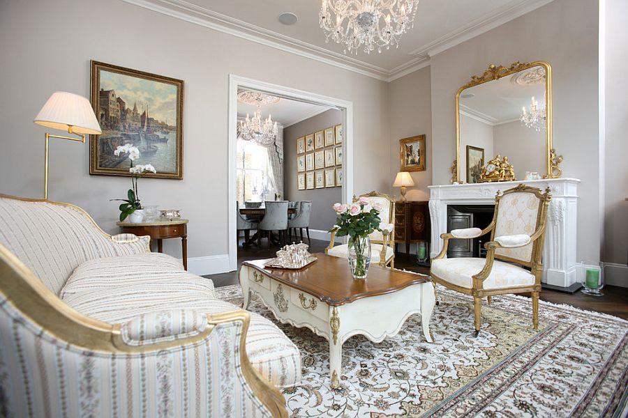 Викторианский стиль в интерьере бело-золотой гаммы