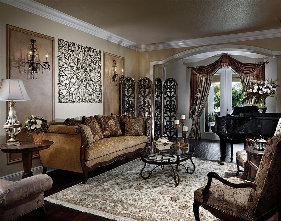 Викторианский стиль в интерьере с тёмной мебелью