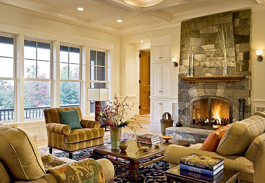 Викторианский стиль в интерьере с большими окнами