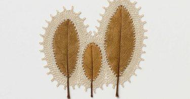 Связи: ажурные вышивки по канве из сухих листьев от Сусанны Бауэр