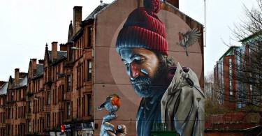 Св. Мунго, покровитель Глазго, на фреске Сэма Бейтса