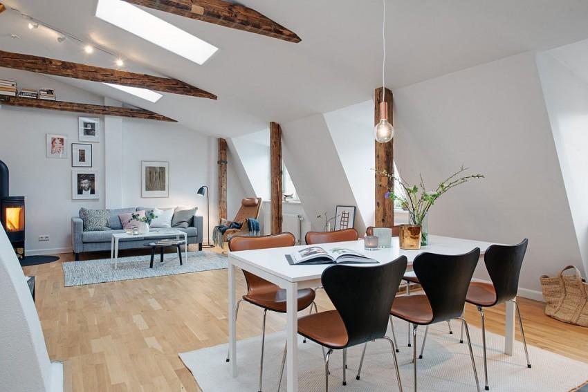 Скандинавский дизайн интерьера столовой квартиры в Швеции