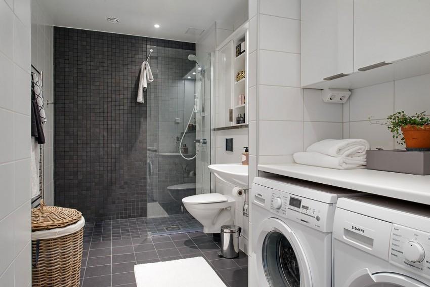 Скандинавский дизайн интерьера ванной комнаты квартиры в Швеции