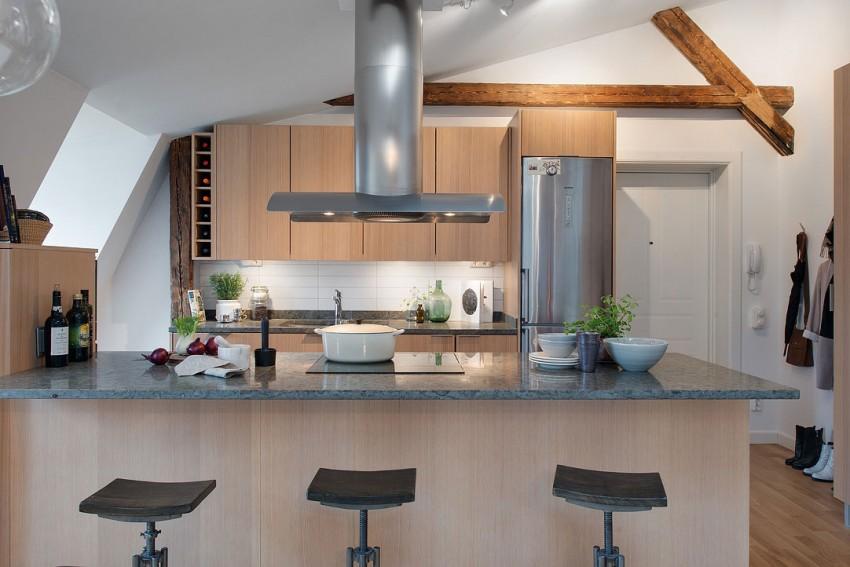 Скандинавский дизайн интерьера кухни квартиры в Швеции