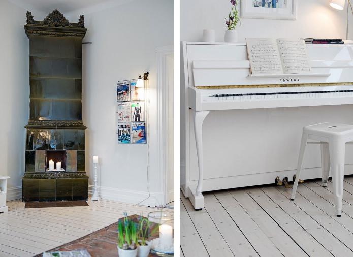 Белый рояль в интерьере