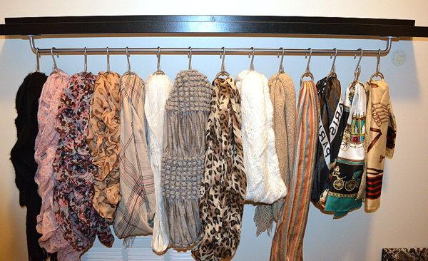 Металлическая система для хранения шарфов и платков