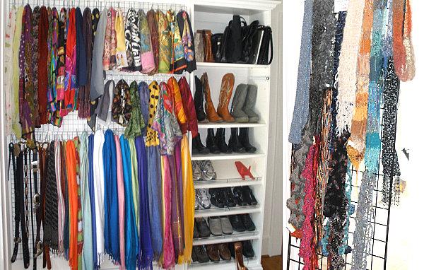 Белая система для хранения шарфов и платков