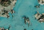 Снимки ферм по выращиванию морских водорослей в Южной Корее сделаны со спутников НАСА