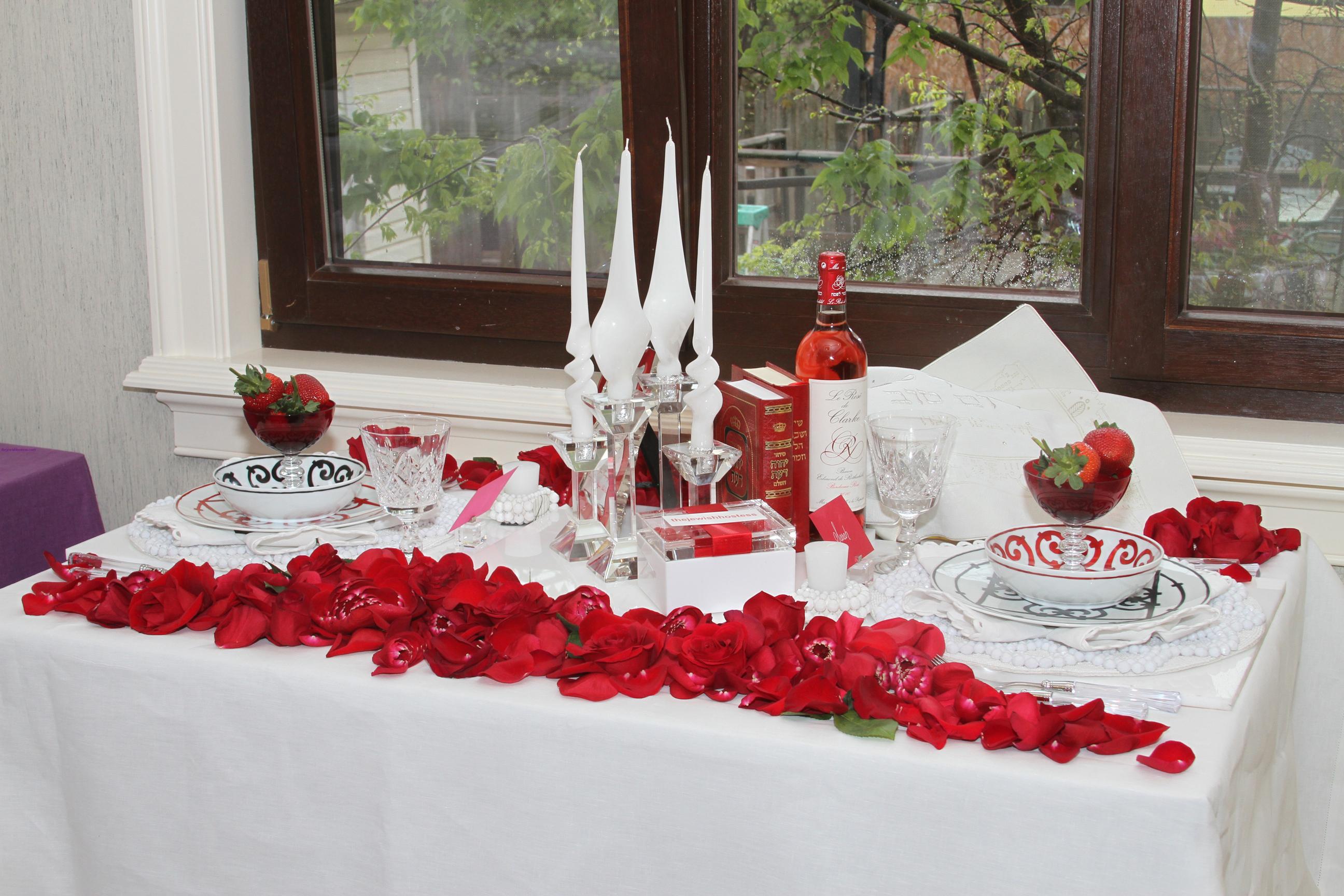 Картинки с лепестками роз на столе, поздравление
