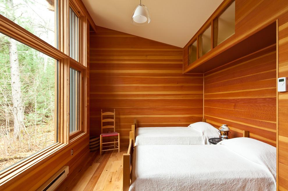 Оформление стен деревом в спальной комнате
