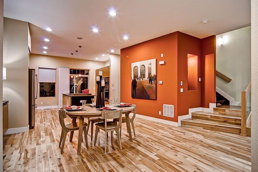 Сочетание оранжевого цвета в интерьере - открытое пространство