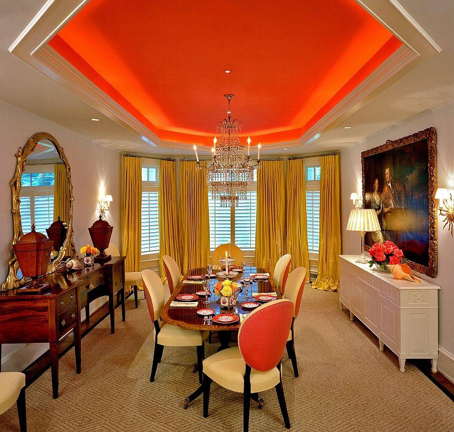 Сочетание оранжевого цвета в интерьере - великолепный потолок