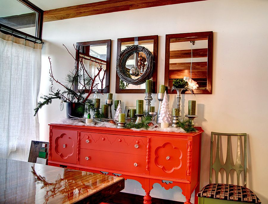 Сочетание оранжевого цвета в интерьере - декор зеркал