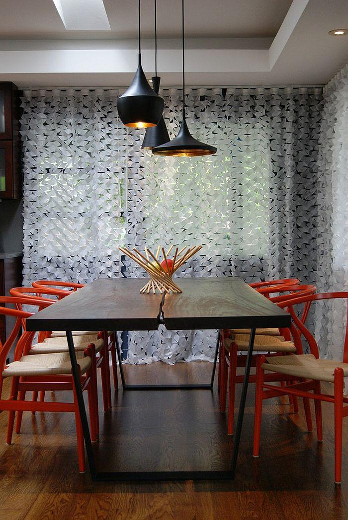 Сочетание оранжевого цвета в интерьере - современный дизайн столовой