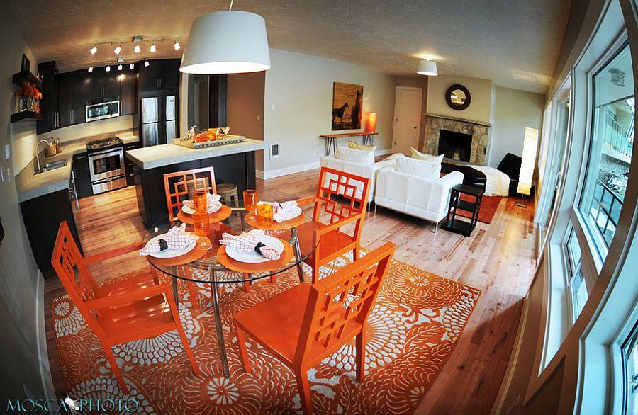 Сочетание оранжевого цвета в интерьере - яркая столовая