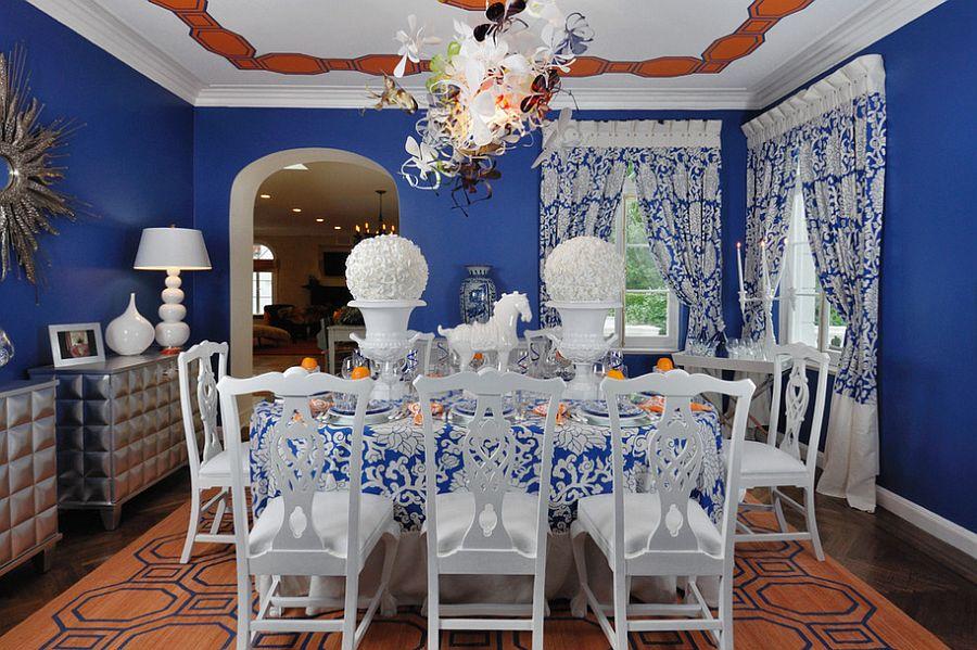 Сочетание оранжевого цвета в интерьере - сказочный синий дизайн