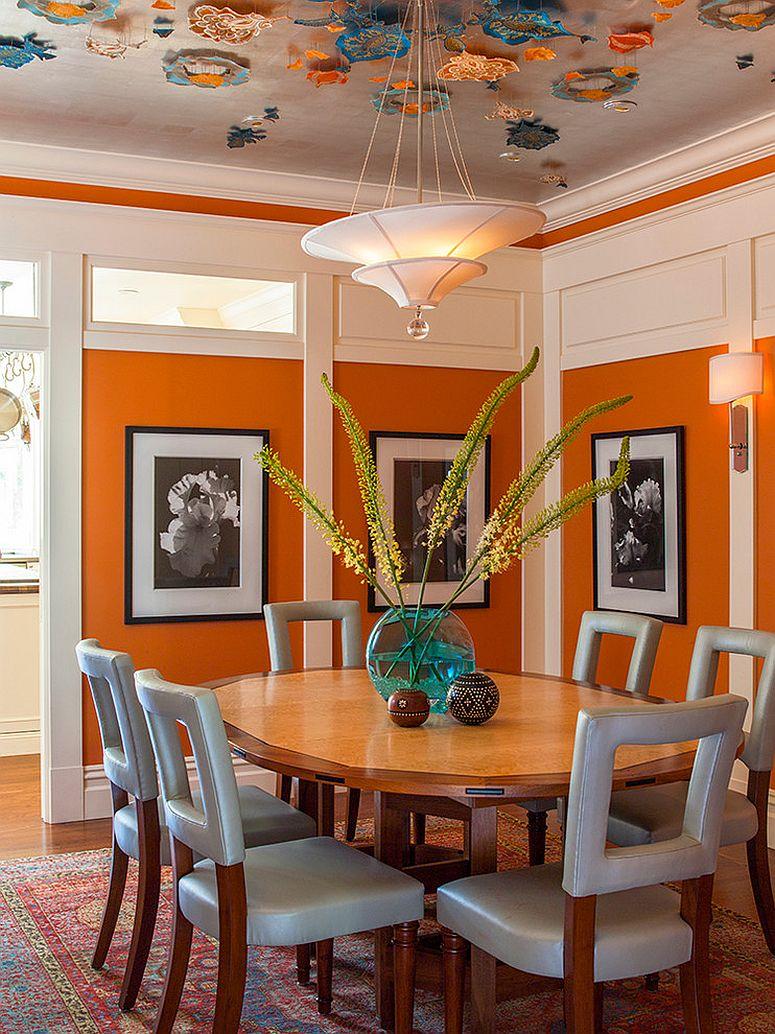 Сочетание оранжевого цвета в интерьере - сочетание с синим