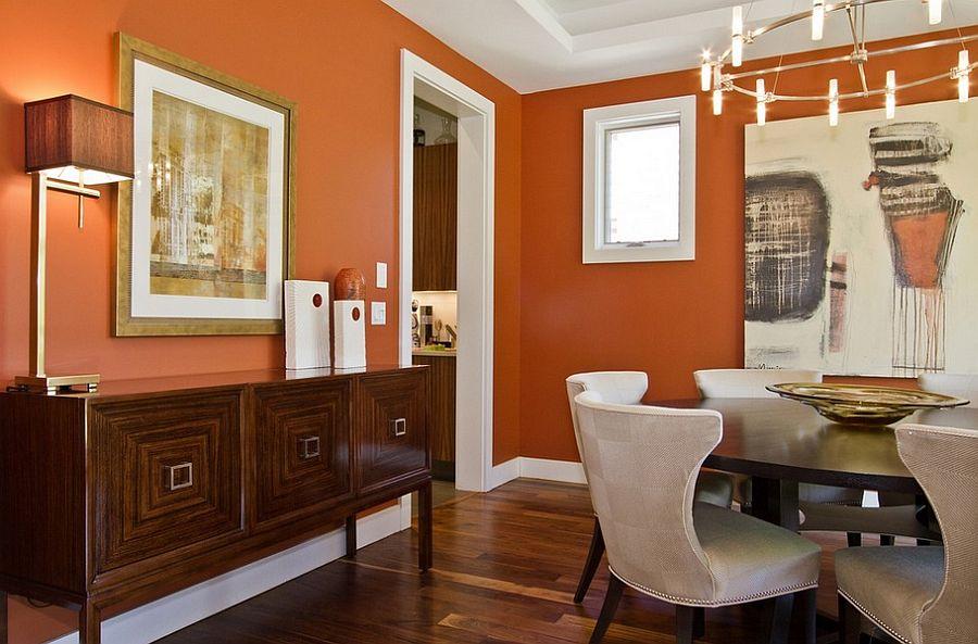 Сочетание оранжевого цвета в интерьере - сочетание с белым