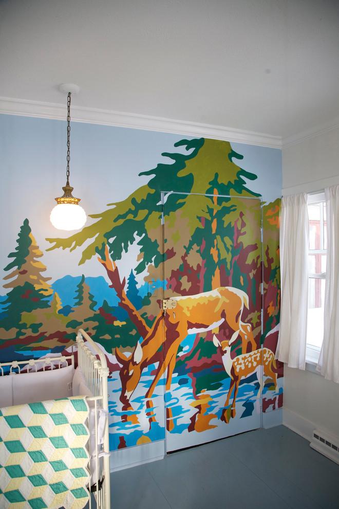 Красивый рисунок на стене в детской