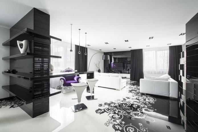 Черно-белые стены в интерьере
