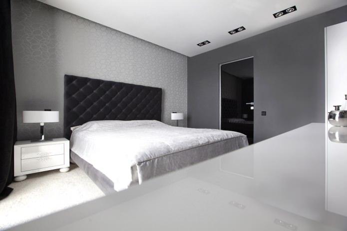 Черно-белая спальная комната