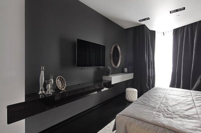 Черная стеновая панель