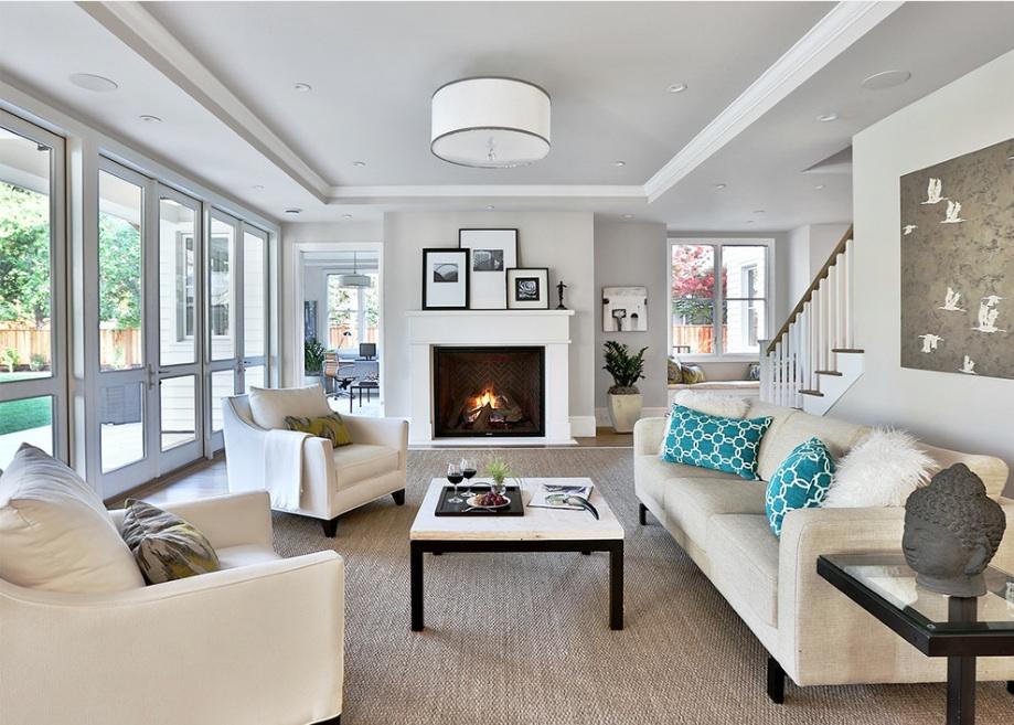 Стиль контемпорари в интерьере светлой гостиной