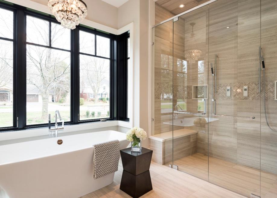 Дизайн бежевой ванной комнаты в стиле контемпорари