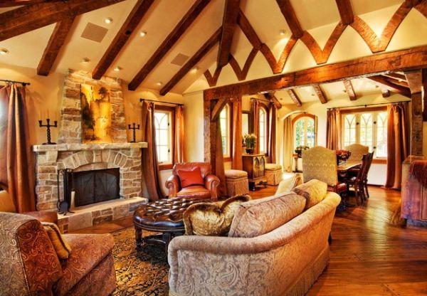 Деревенский стиль гостиной комнаты