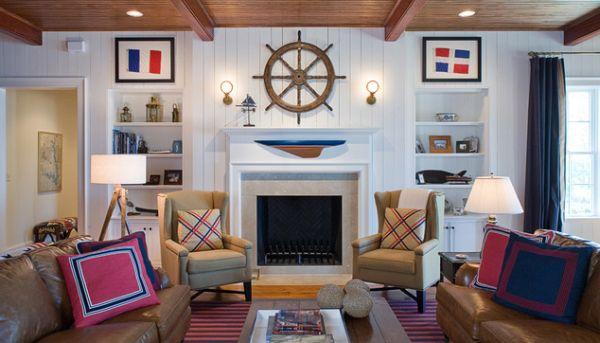 Морской стиль в интерьере гостиной