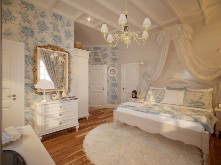 Стиль прованс в интерьере спальни: балдахин над кроватью