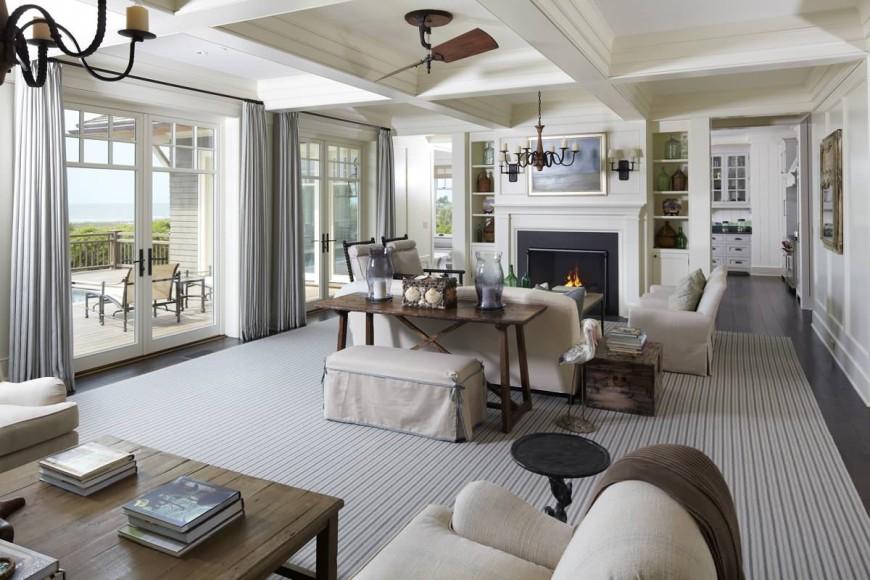Стиль прованс в интерьере большой гостиной