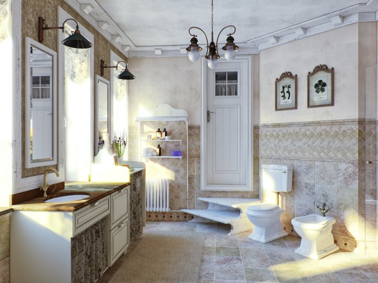 Стиль прованс в интерьере ванной комнаты