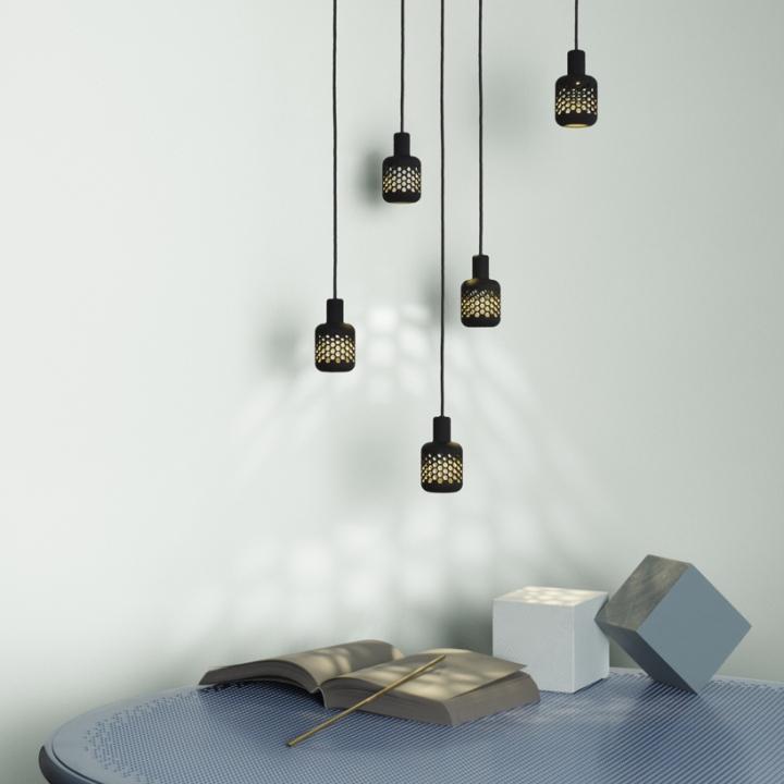 Стильный дизайн мебели: чёрные светильники