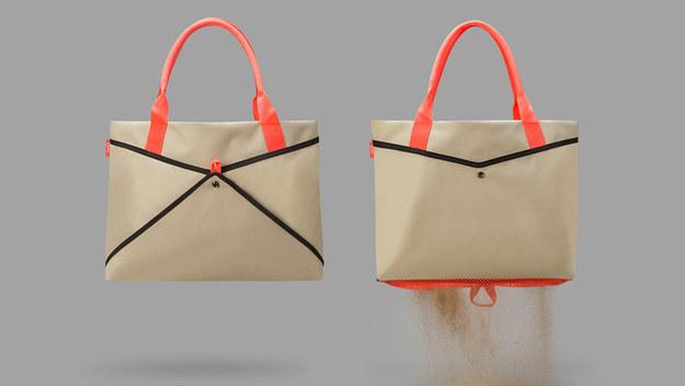 Пляжная сумка с сеткой внизу