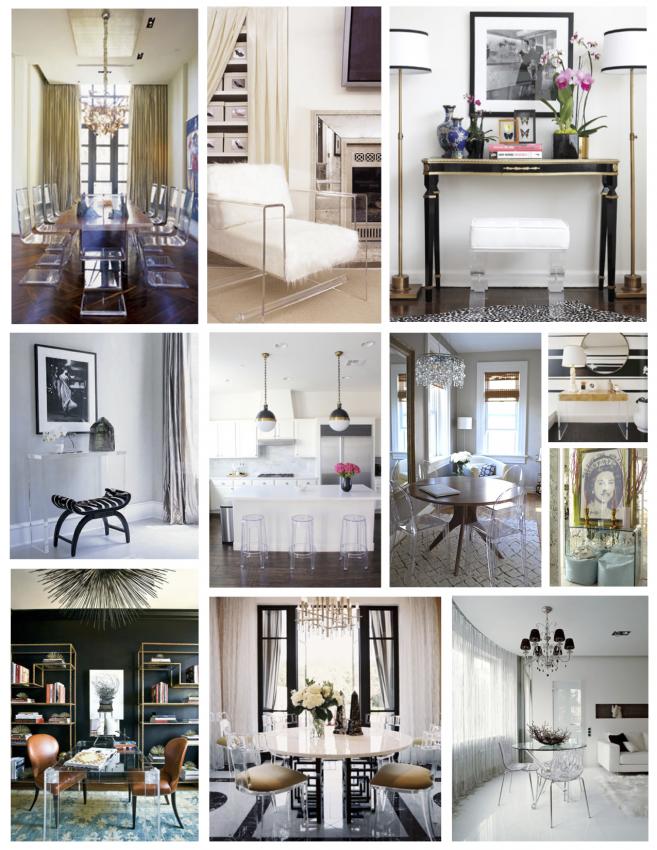 Прозрачная мебель и предметы интерьера