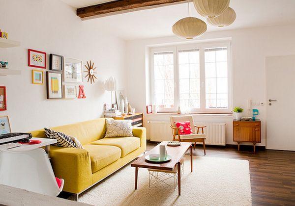 Яркий дизайн интерьера гостиной зоны